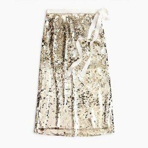 NWT J. Crew Gold Sequin Midi Skirt w/ Tie 8